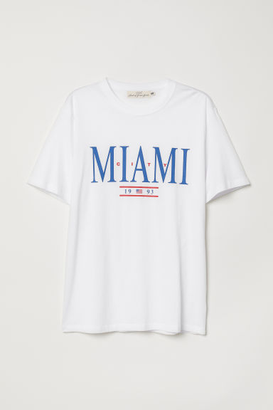 Printed T-shirt - White/Miami - Men | H&M CN