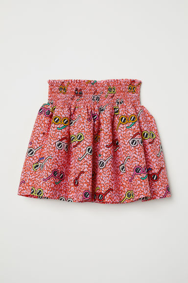 Cotton skirt with smocking - Pink/Sunglasses -  | H&M CN