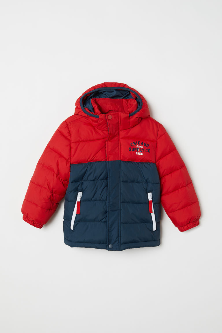 Padded jacket - Red/Block-patterned - Kids | H&M