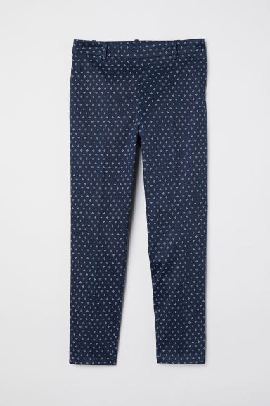 Cigarette trousers - Dark blue/Patterned -  | H&M