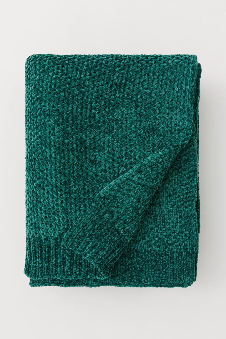 Chenille blanket - Emerald green - Home All | H&M CN
