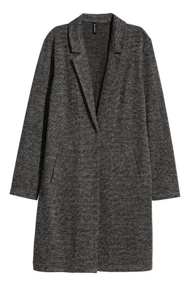 Textured-weave coat - Black/White marl - Ladies | H&M CN