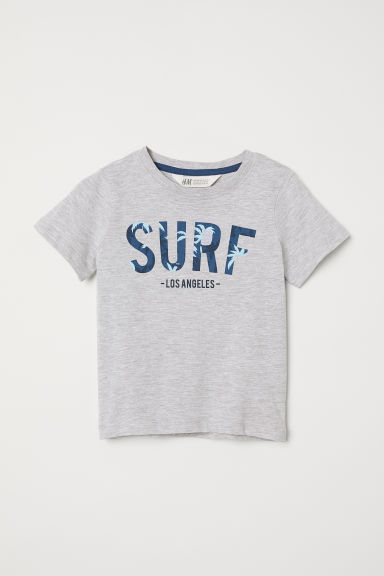 Printed T-shirt - Grey marl/Surf - Kids | H&M
