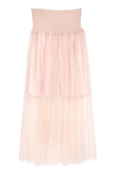 Beaded tulle skirt - Powder pink - Ladies | H&M