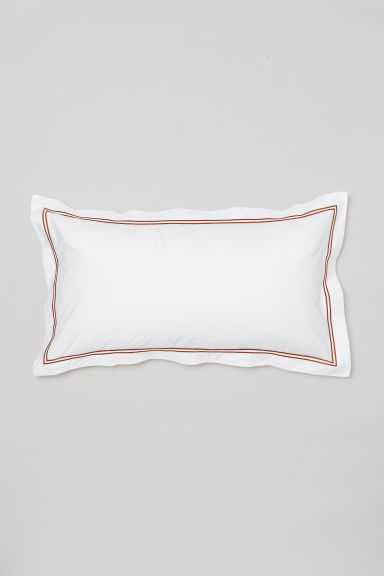 Cotton percale pillowcase - White/Ochre - Home All | H&M CN
