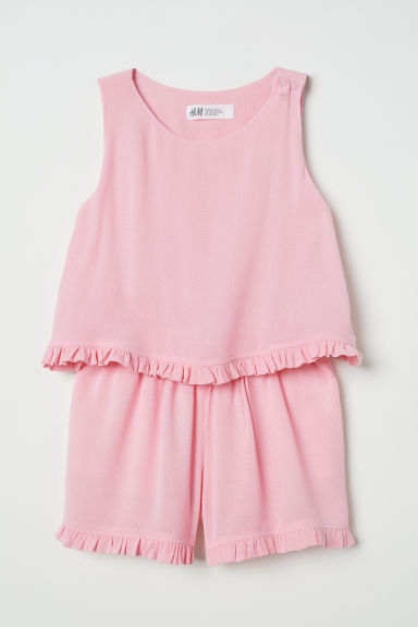 Crinkled playsuit - Pink - Kids | H&M