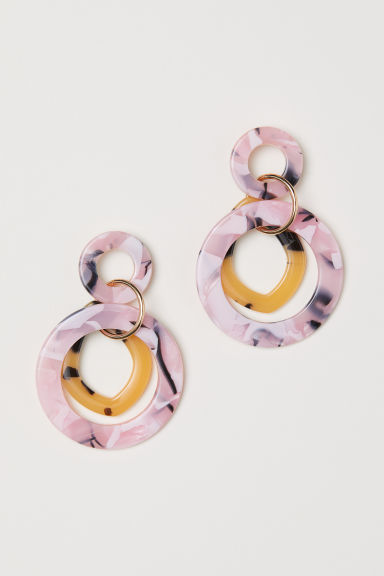 Round earrings - Light pink/Patterned - Ladies | H&M CN