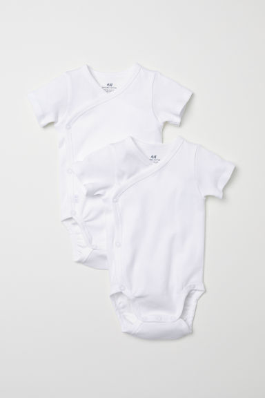2-pack short-sleeved bodysuits - White -  | H&M CN