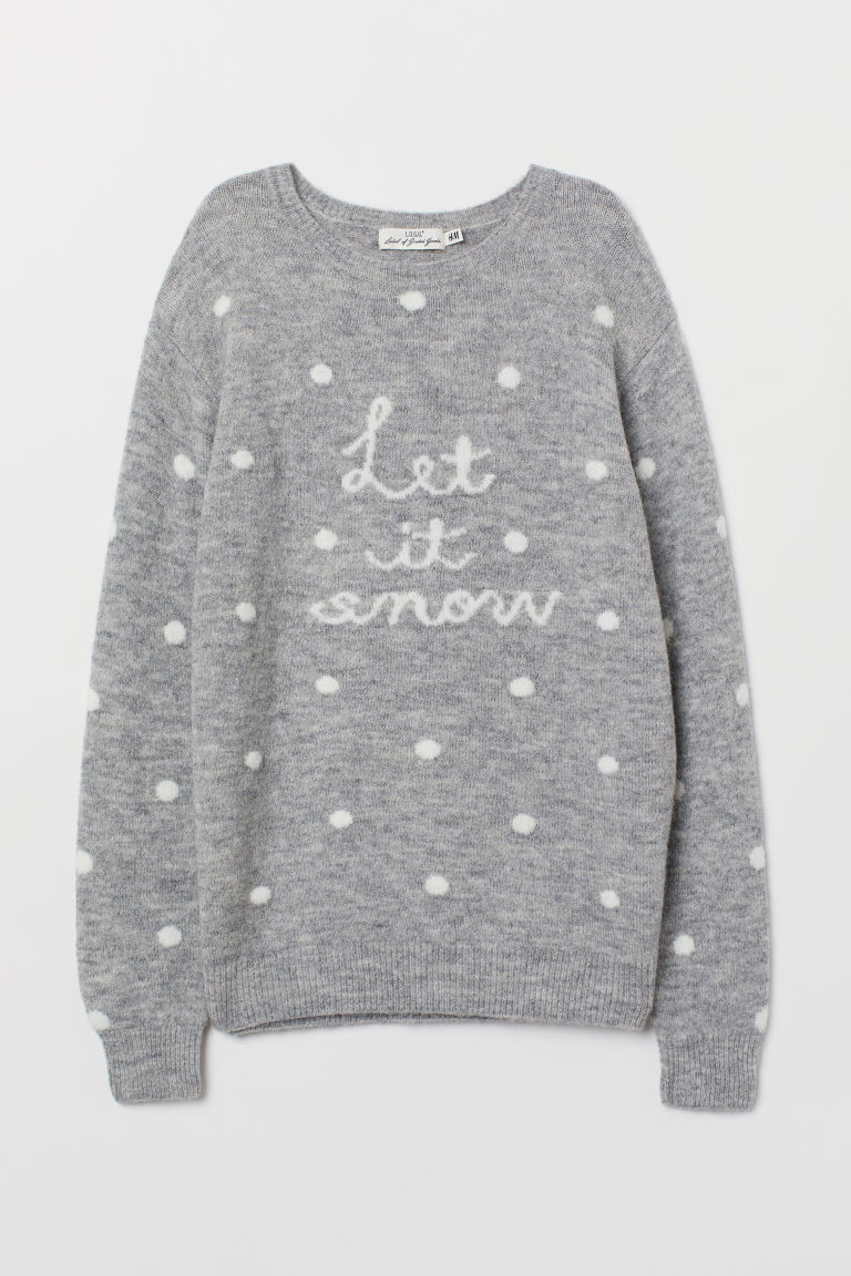 Fine-knit jumper - Grey marl/Let It Snow - Ladies | H&M GB
