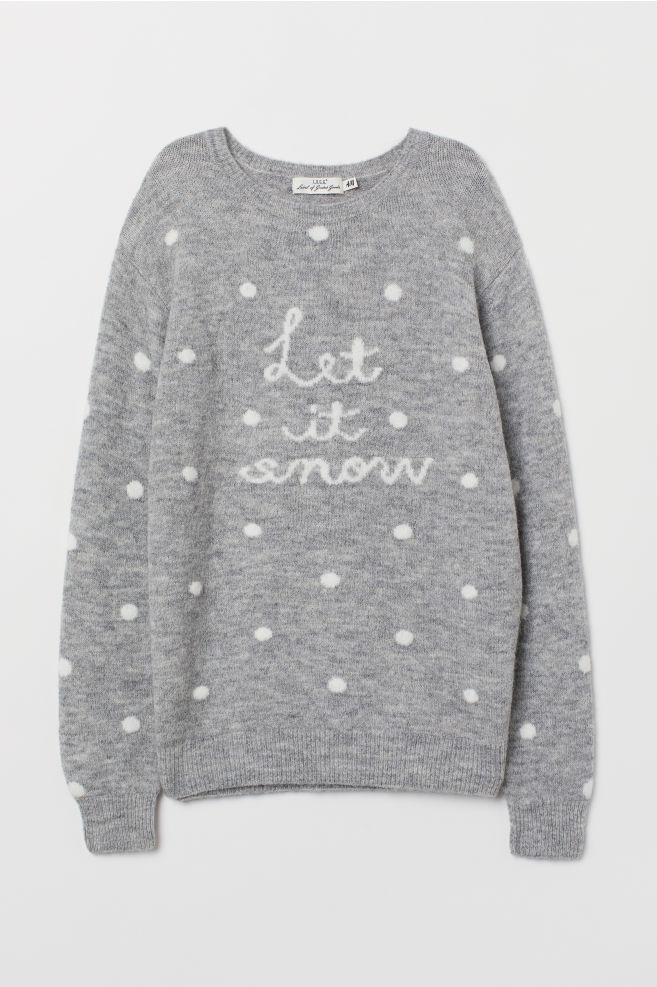 Pull en maille fine - Gris chiné/Let It Snow - FEMME | H&M FR 5