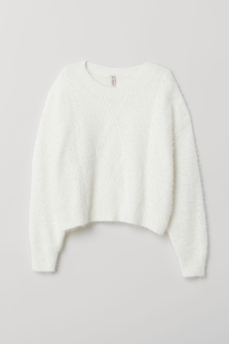 Textured-knit jumper - White -  | H&M GB