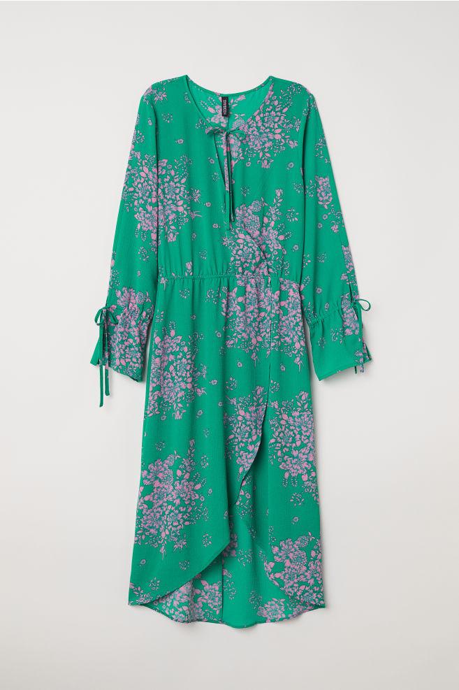 4a4190a6a4 Sukienka z krepy - Zielony Kwiaty -