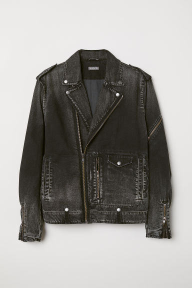 Denim biker jacket - Black/Washed - Men | H&M CN