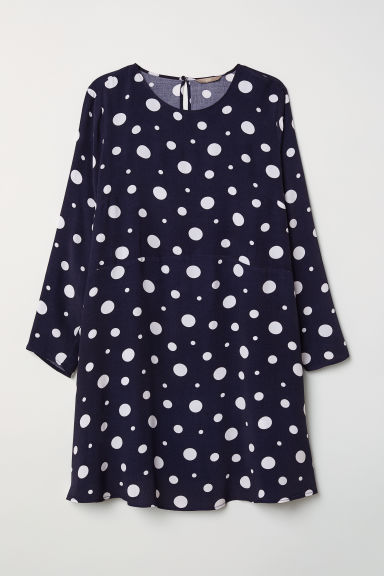 H&M+ Short dress - Dark blue/White spotted -  | H&M