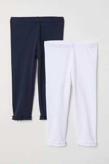 2-pack 3/4-length leggings - Dark blue/White - Kids | H&M CN