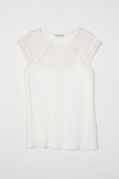 Top with a lace yoke - Natural white - Ladies | H&M