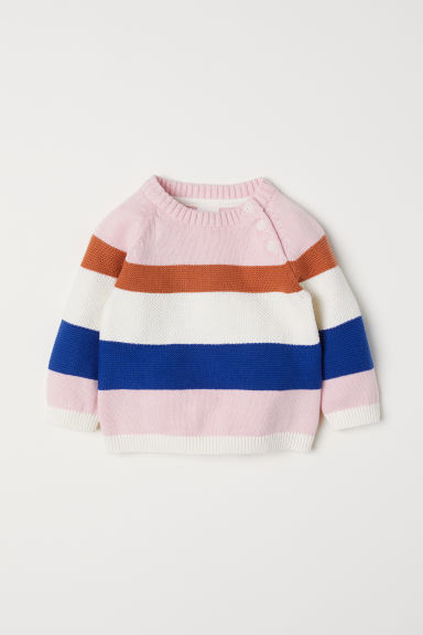 Fine-knit jumper - Light pink/Blue -  | H&M