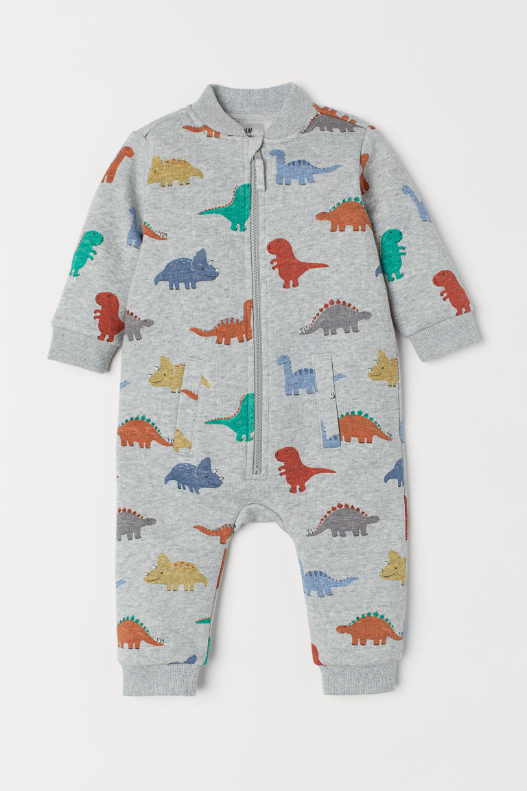 Patterned all-in-one suit - Grey marl/Dinosaurs - Kids | H&M CN