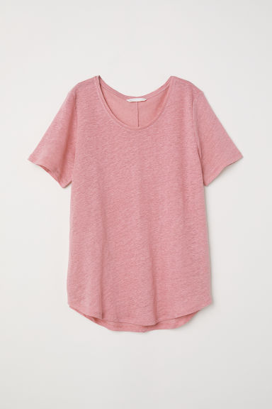 Round-necked linen top - Pink - Ladies | H&M