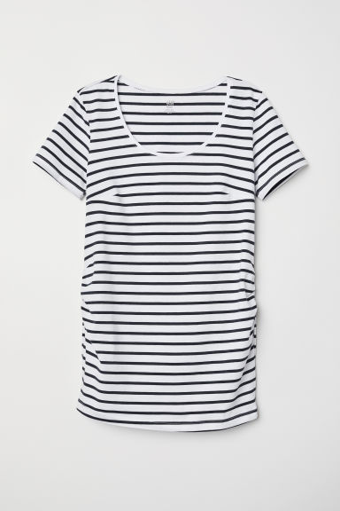 MAMA Cotton jersey top - White/Dark blue striped - Ladies | H&M