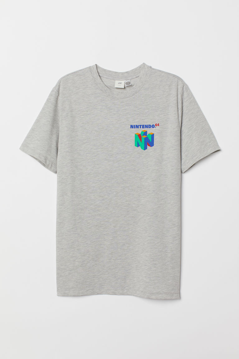 Printed T-shirt - Grey marl/Nintendo 64 - Men | H&M