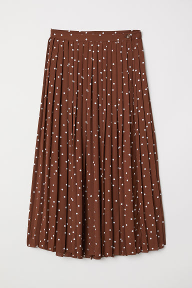 Pleated Wrap-front Skirt - Brown/dotted - Ladies | H&M US