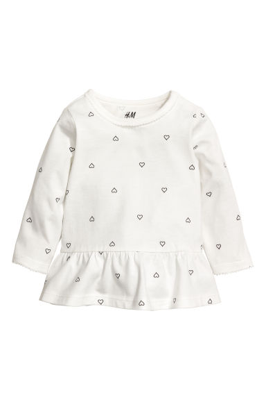 Flounced top - Natural white/Hearts - Kids | H&M CN