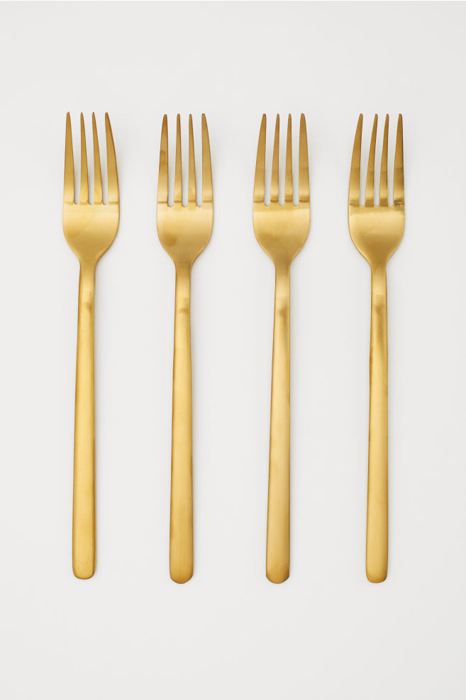 4-pack forks - Gold-coloured - Home All | H&M GB 1