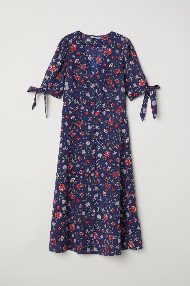 0602301962 Jedwabna sukienka we wzory - Ciemnoniebieski Kwiaty - ONA