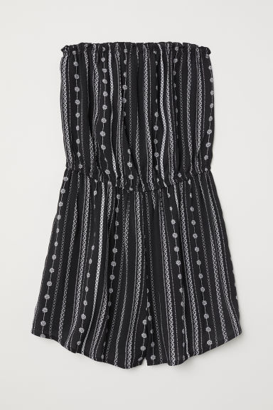 Strapless playsuit - Black/White patterned - Ladies | H&M CN
