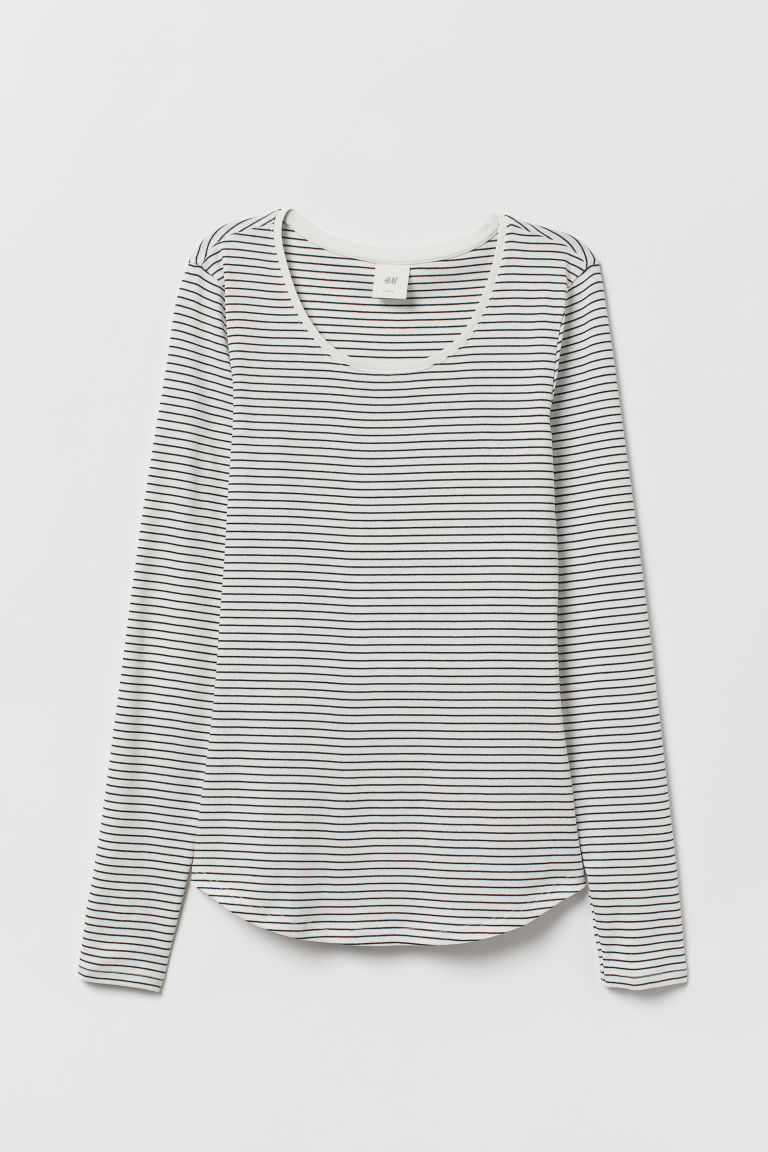 Langarmshirt aus Jersey - Weiß/Gestreift - Ladies | H&M AT