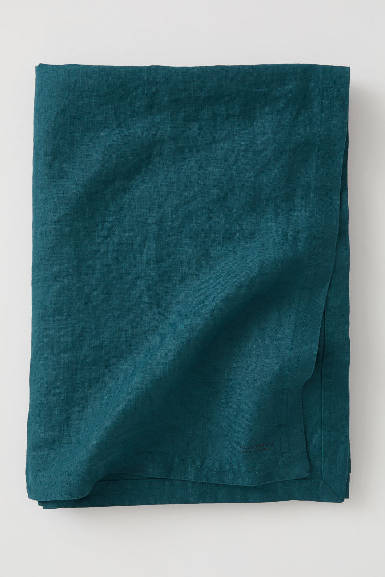Washed linen tablecloth - Petrol - Home All | H&M GB