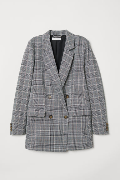 Double-breasted jacket - Grey/Checked - Ladies | H&M