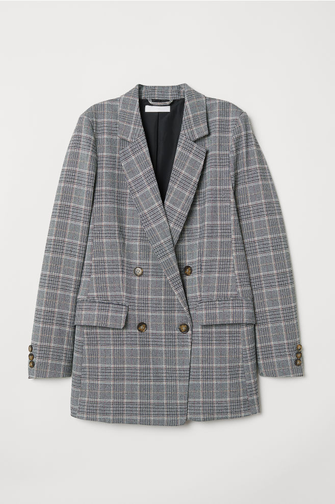Double Breasted Jacket Gray Checked Ladies H M Us