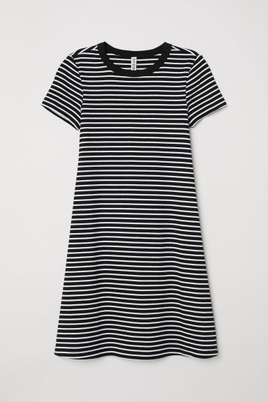 Ribbed dress - Black/White striped -  | H&M