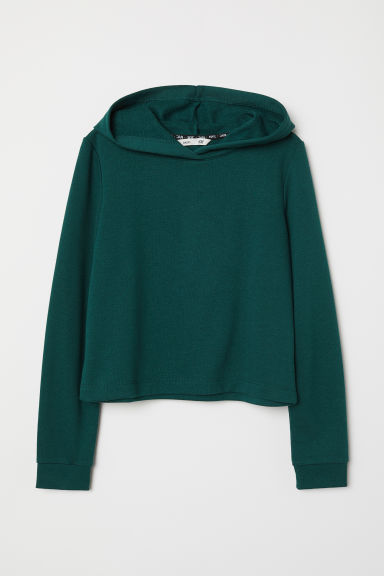 Short hooded top - Dark green - Kids | H&M