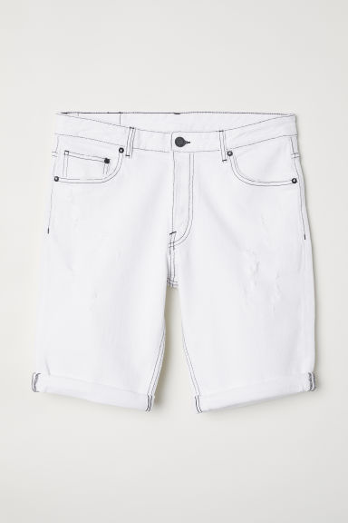 Slim Denim Shorts - Bianco - UOMO | H&M IT