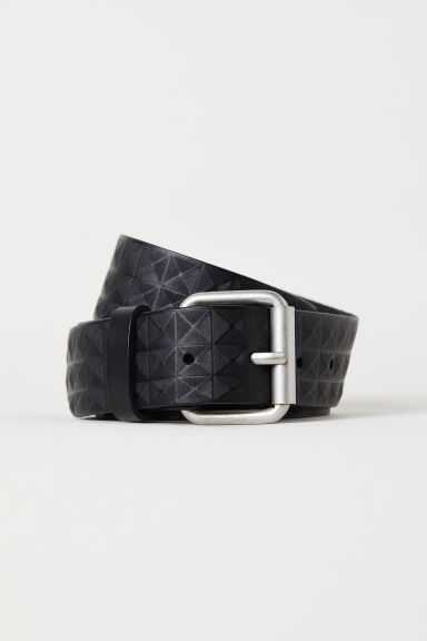 Embossed leather belt - Black -  | H&M