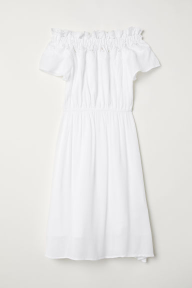 Off-the-shoulder Dress - White - Ladies | H&M US