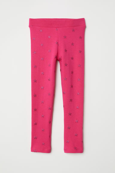 Leggings with Brushed Inside - Cerise/stars - Kids | H&M CA