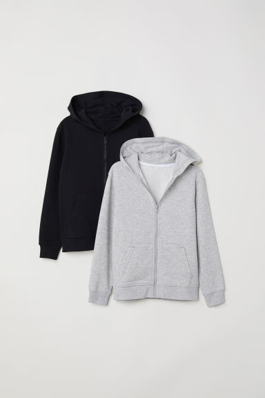 Sweats à capuche, lot de 2 - Gris chiné/noir - ENFANT | H&M FR