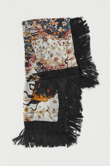 Silk-blend scarf - Black/Patterned - Ladies | H&M