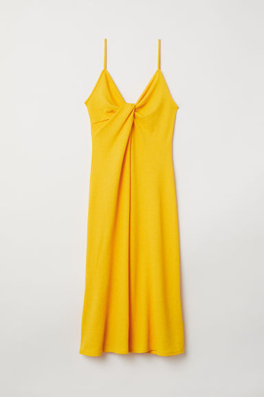 Tie-detail dress - Bright yellow -  | H&M CN