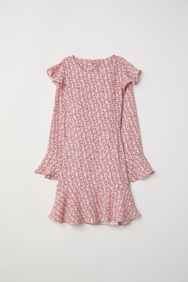 Patterned flounced dress - Powder pink/Floral - Ladies | H&M CN