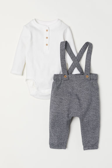 Henley bodysuit and trousers - Grey marl/White - Kids | H&M CN