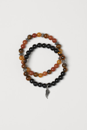2-pack bracelets with stones
