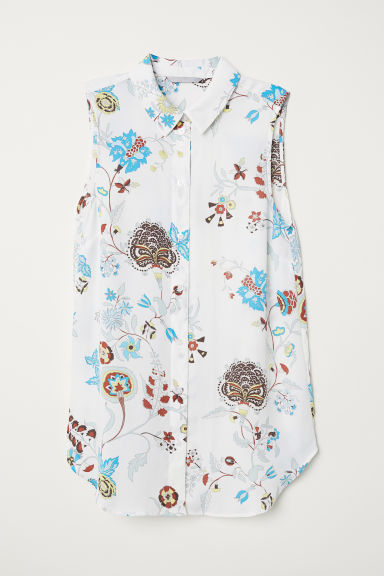 Sleeveless blouse - White/Floral -  | H&M
