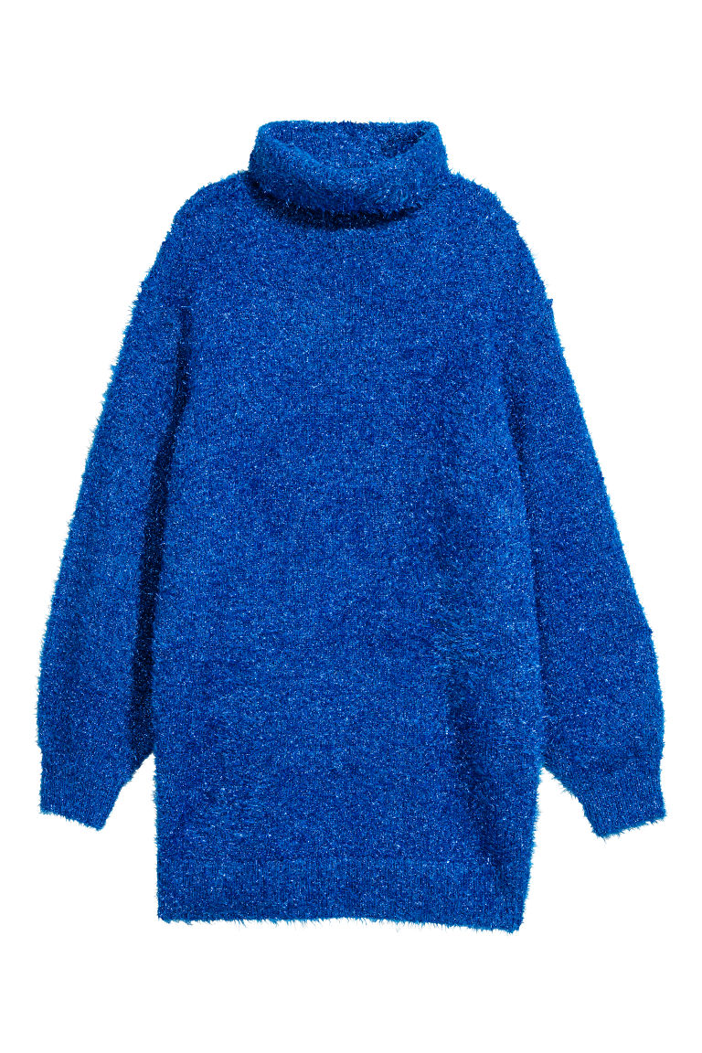 Knitted polo-neck dress - Bright blue - Ladies | H&M IE