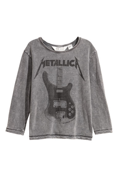 Washed-look jersey top - Grey/Metallica -  | H&M