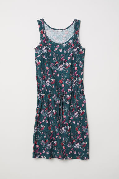 MAMA Nursing dress - Dark green/Floral - Ladies | H&M CN